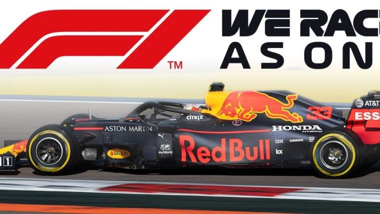 A Formula 1 car with the slogan 'F1 - We race as one'