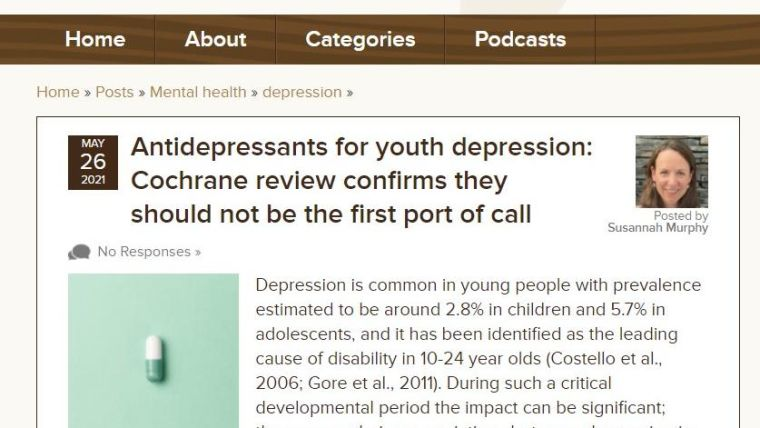 Screen capture of Mental Elf blog with title and summary paragraph