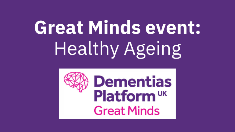 """A purple background with the Great Minds logo and the text """"Great Minds event: Healthy Ageing""""."""