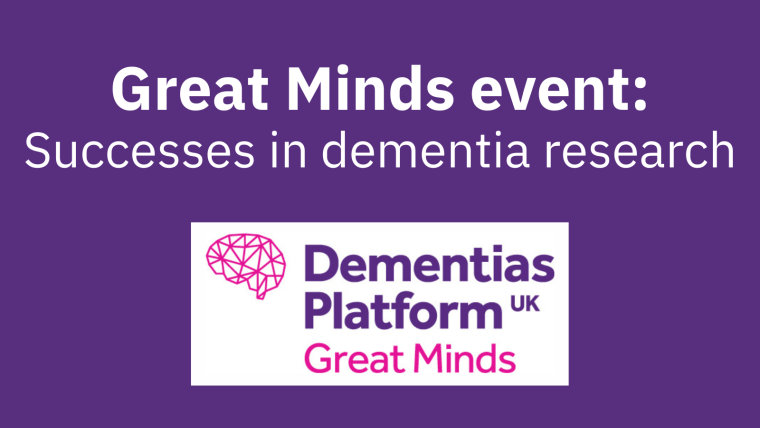 """A purple background with the Great Minds logo and the text """"Great Minds event: Successes in dementia research""""."""