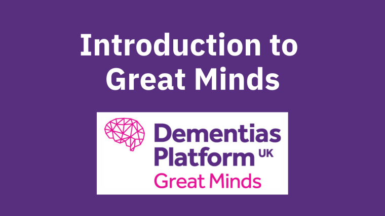 """A purple background with the DPUK Great Minds logo and text reading """"Introduction to Great Minds""""."""