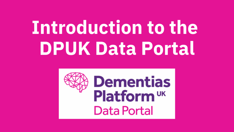 """A pink background withe the DPUK Data Portal logo and text reading: """"Introduction to the DPUK Data Portal""""."""