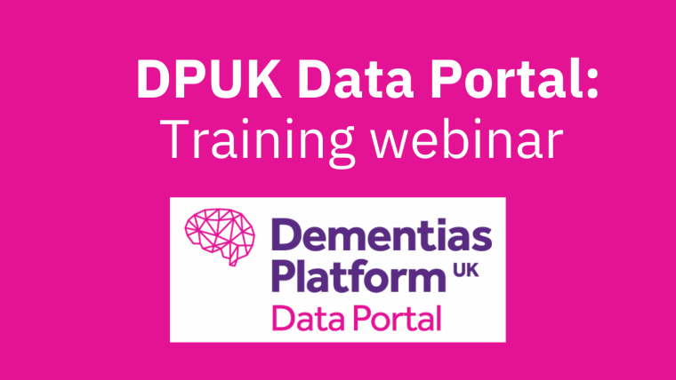 """A pink background with the DPUK Data Portal logo and text reading: """"DPUK Data Portal: Training Webinar""""."""