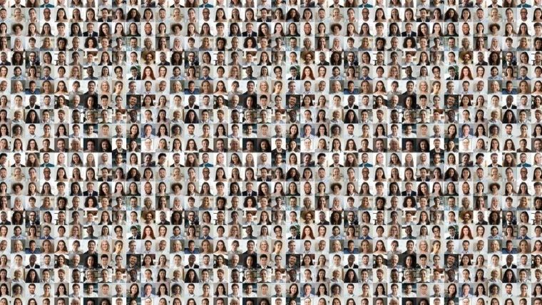 Composite image with hundred of protrait photos, passport style