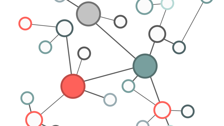 Image of a network mapped out.