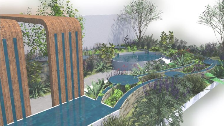 Graphic illustration of the centre of the garden, which provides an immersive experience within the planting, with the gentle sound of the water flow