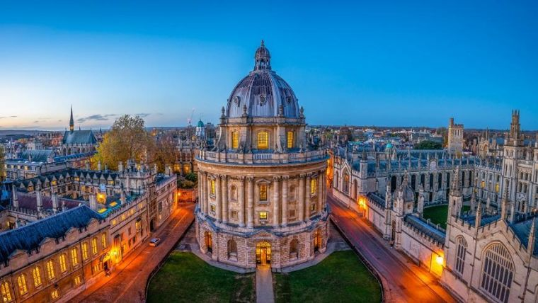 View of City of Oxford Skyline at dusk