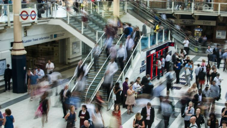 Picture shows commuters in London