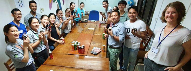ACORN team members in Siem Reap, Cambodia celebrate funding for ACORN 2