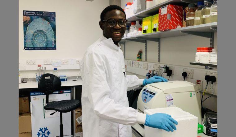 Segun Afolaranmi in the lab