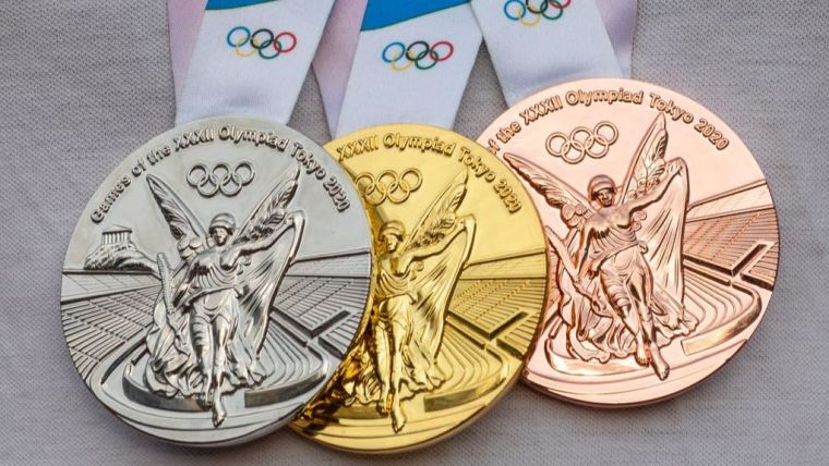 Bronze, silver and gold Olympic medals