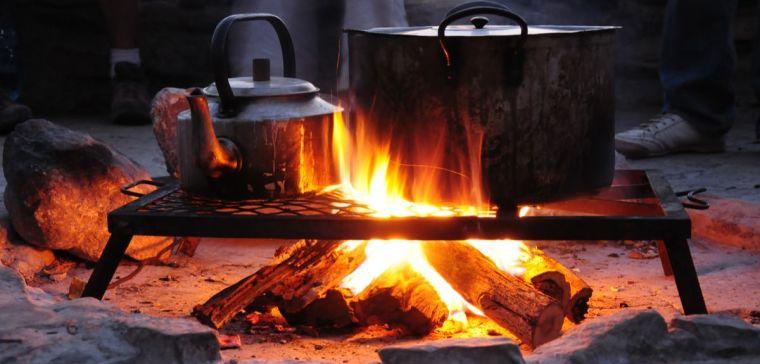An open wood fire