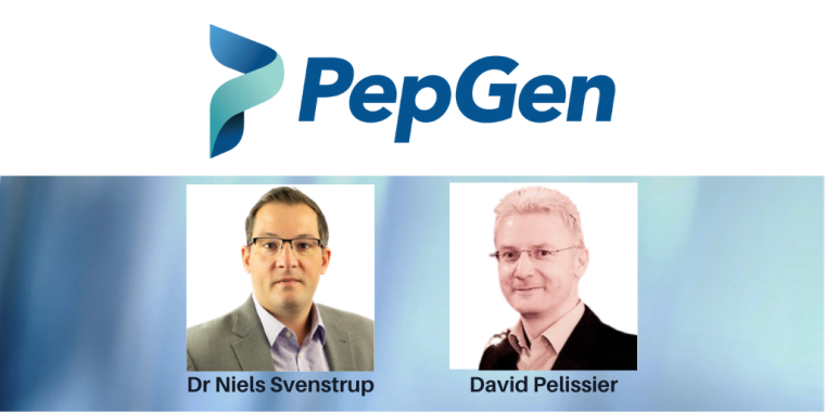 Images of Dr Niels Svenstrup and David Pelissier with the PepGen Logo