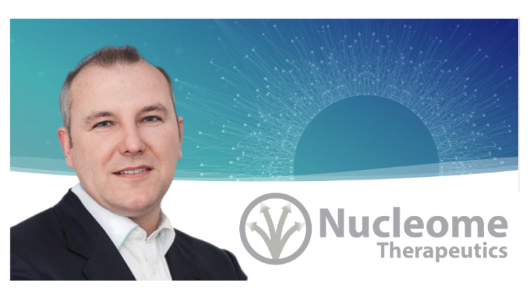 Image of Jonathan Hepple with the Nucleome Therapeutics Logo