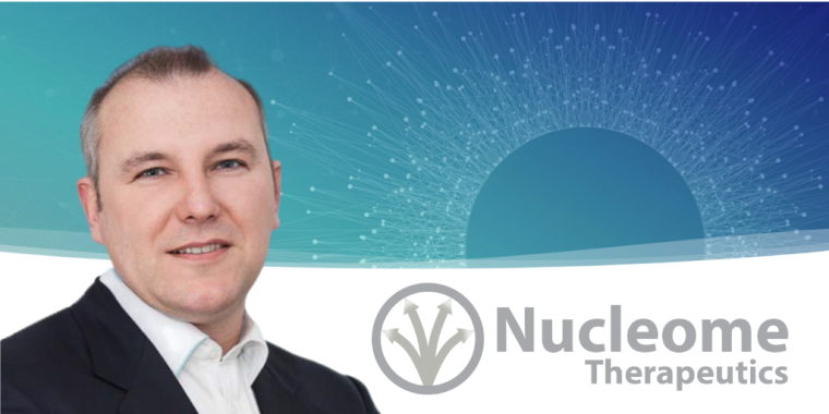 Image of Dr Jonathan Hepple with the Nucleome Therapeutics Logo