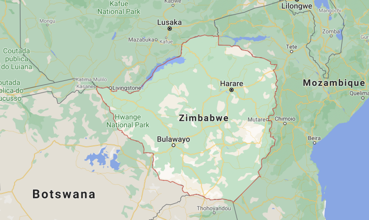 Image of a map of Zimbabwe