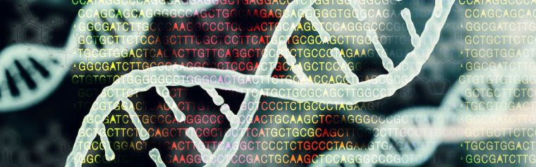 Concept of a DNA strand and protein letters