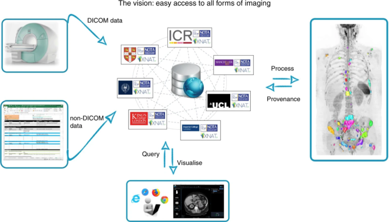 The NCITA Repository Unit is developing a sustainable, cross-institutional federated repository structure for the secure storage, integration, analysis and sharing of imaging data. The repository supports the full range of image data from initial data acquisition, through various levels of data curation, to controlled release of deidentified data as a community resource.
