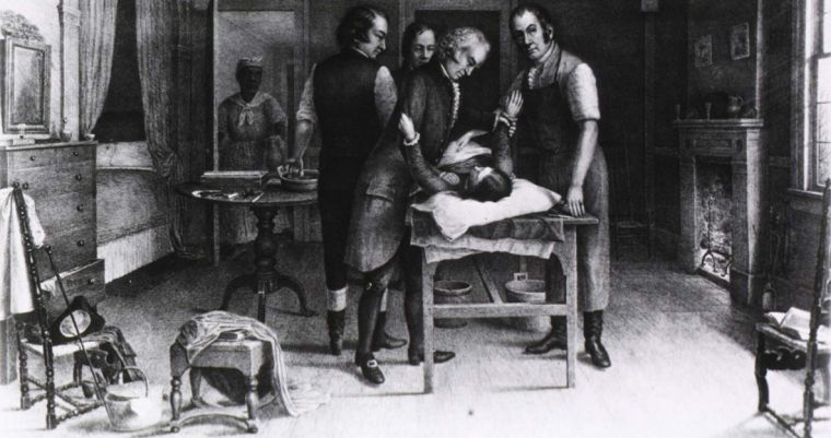 Ephraim McDowell performing the first ovariotomy (1809), 19th century lithograph.