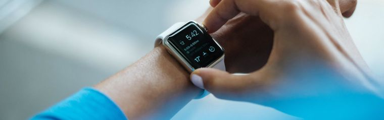 A smart watch on a person's wrist