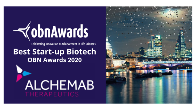 To the left, the OBN Awards logo and the Alchemab Therapeutics logo are on a deep purple background. To the right, there is an image of London overlooking the River Thames. Glitter is falling from the sky.