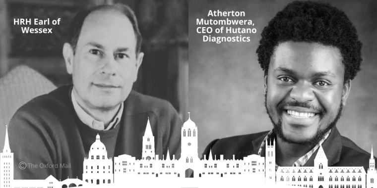 HRH The Earl of Wessex is pictured on the left. Atherton Mutombwera is pictured on the right. There is an illustration of the city of Oxford skyline below the two images.