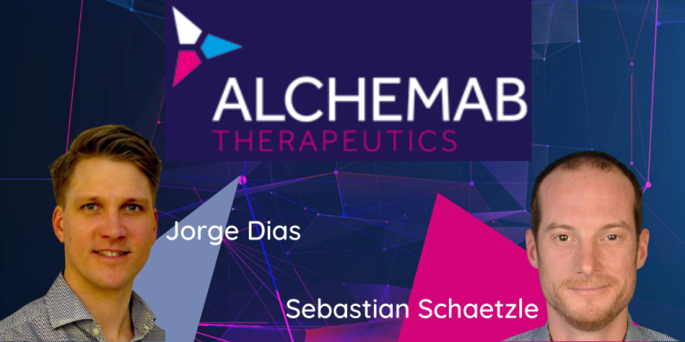 Pictured left is Jorge Dias. Pictured right is Sebastian Schaetzle. The Alchemab logo is in between them. There is a dark purple background.