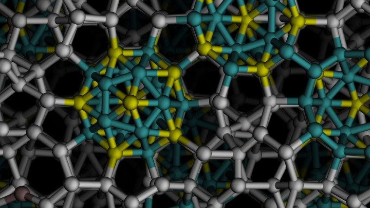 A close-up of a cut through one of the icosahedral quasicrystals grown in computational experiments viewed along a five-fold axis of symmetry.