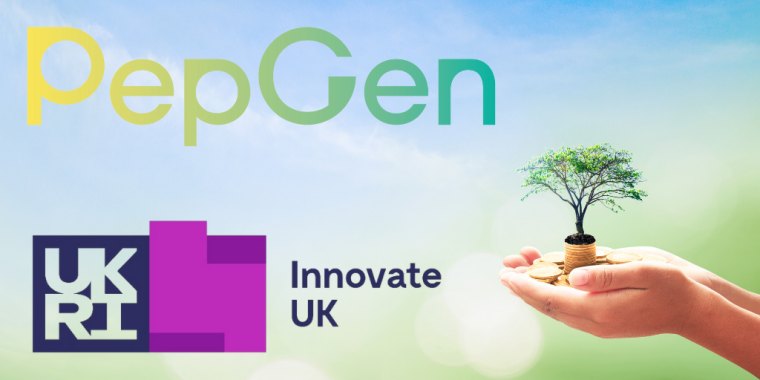 The PeGen and Innovate UK logos are on the left-hand side. On the right-hand side is a cupped hand with gold coins in and a tiny tree growing out of the coins.