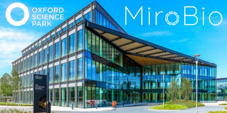 A glass building based at the Oxford Science Park. The Oxford Science Park logo is on the top left-hand side. The MiroBio logo is on the top right-hand side.