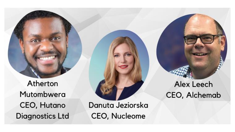 Headshots left to right of Danuta Jeziorska - CEO of Nucleome,  Alex Leech - CEO of Alchemab and Atherton Mutombwera - CEO of Hutano Diagnostics with BioEscalator logo underneath.