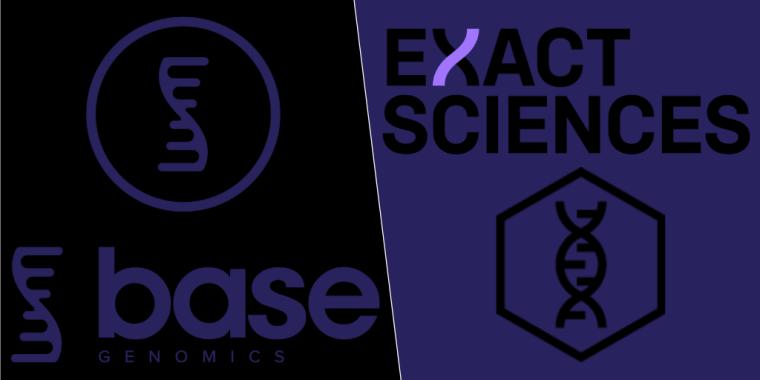 Base Genomics logo and Exact Sciences logo
