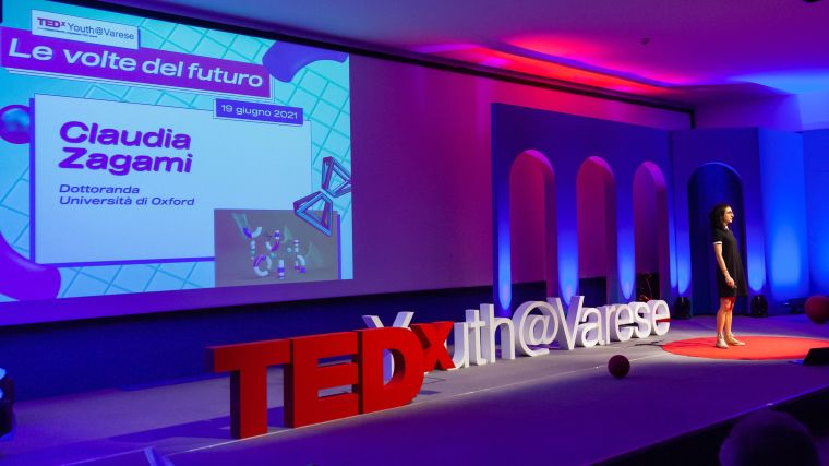 Claudia presenting at TEDx Youth Varese