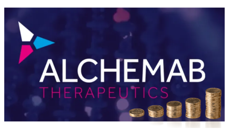 Alchemab logo on blue background