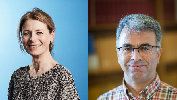 Photo of smiling woman against blue background on left, photo of smiling man wearing checked shirt on right