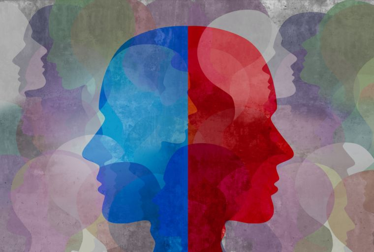 Schizophrenia and split personality disorder and mental health psychiatric disease concept