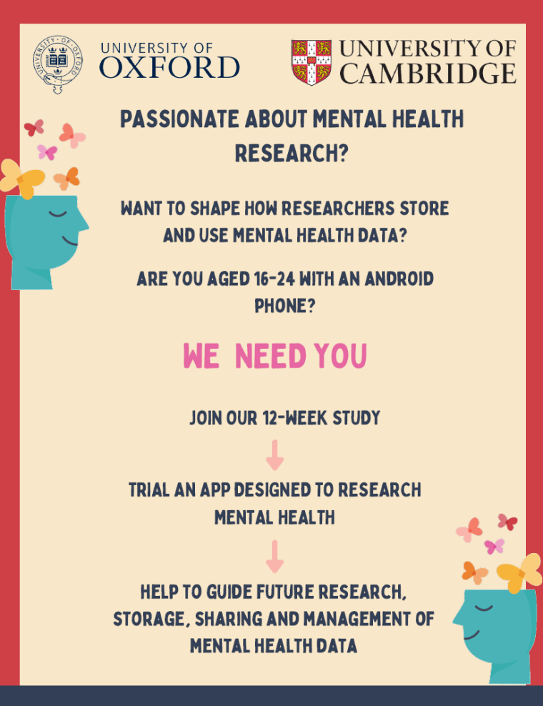 Colourful poster with three logos representing University of Oxford, University of Cambridge, and MindKind. Asks if reader is a person aged 16-24 years old and interested in mental health research. If yes, eligible person is then invited to join the 12 week MindKind app study. QR code and website details is provided.