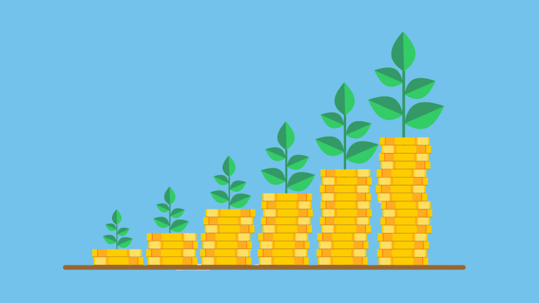 Illustration of an increasing pile of coins with plants growing out of them