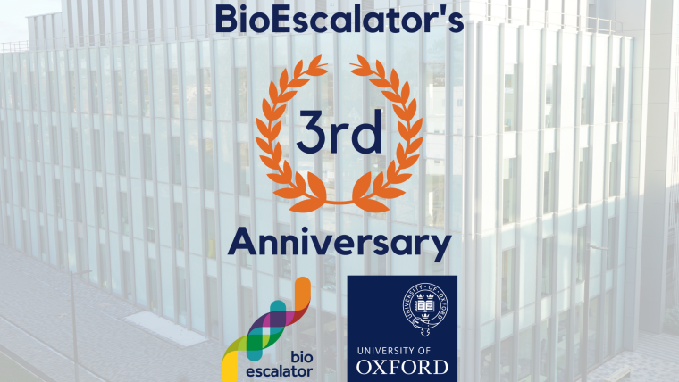 BioEscalator building with BioEscalator logo and University of Oxford logo