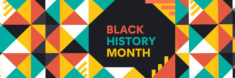 Title of Black History Month on a colourful geometric background.