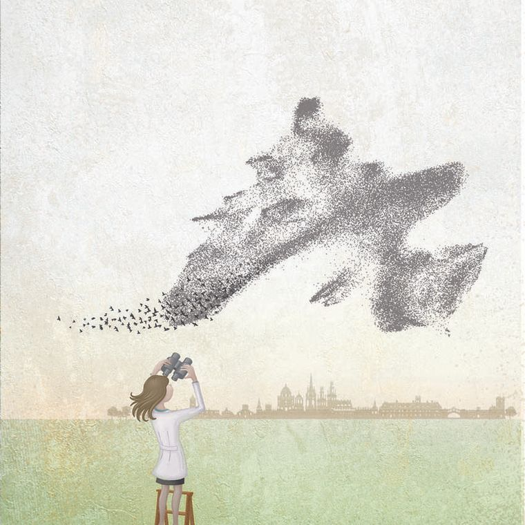 A scientist in a lab coat stands on a step ladder holding binoculars. In the distance we see the outline of buildings in Oxford. She is looking into the sky at a flock of birds. The birds form a shape similar to that of the Haematopoietic Stem Cell/Progenitor Cell (HSPC) compartments studied in this new scientific article