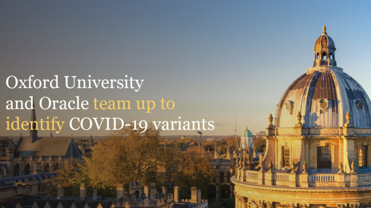 Oxford skyline with text 'Oxford University and Oracle to team up to identify COVID-19 variants'