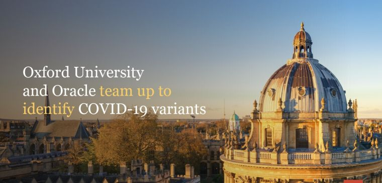 Oxford skyline with the text: Oxford University and Oracle team up to identify COVID-19 variants