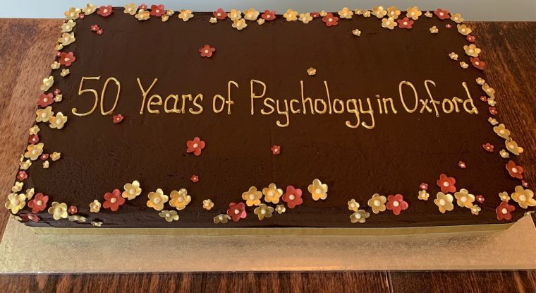 """Photo of chocolate cake with words, """"50 Years of Psychology in Oxford."""""""
