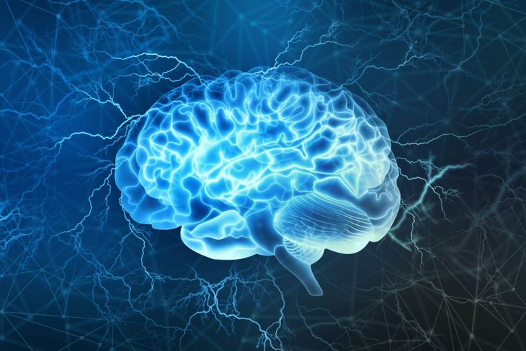Human brain digital illustration. Electrical activity, flashes and lightning on a blue background