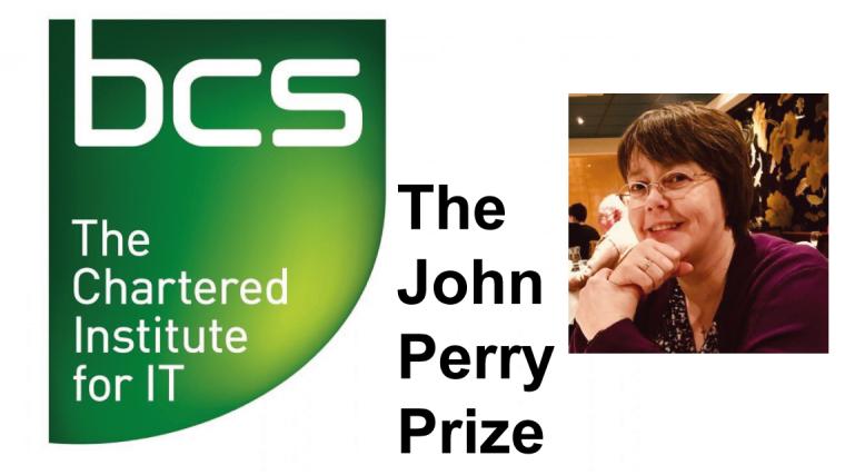 The BCS logo, and a portrait of Prof Julia Hippisley-Cox