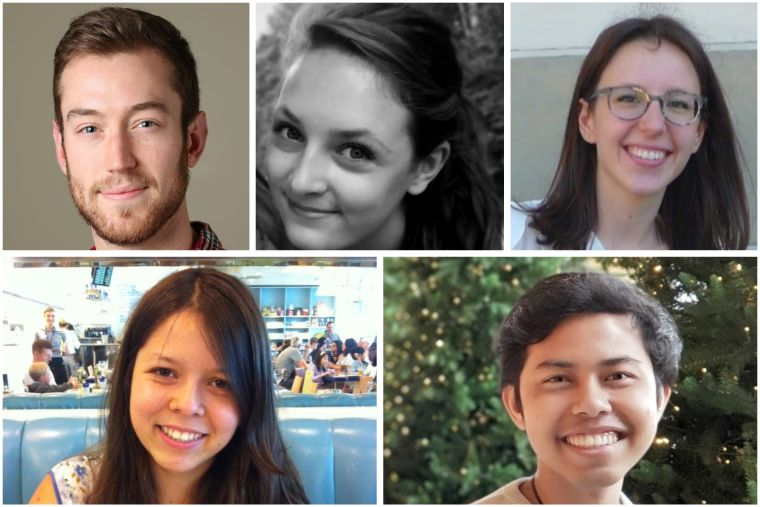 7 graduate representatives (as of 2019) featured in a montage, names will be given in corresponding caption.