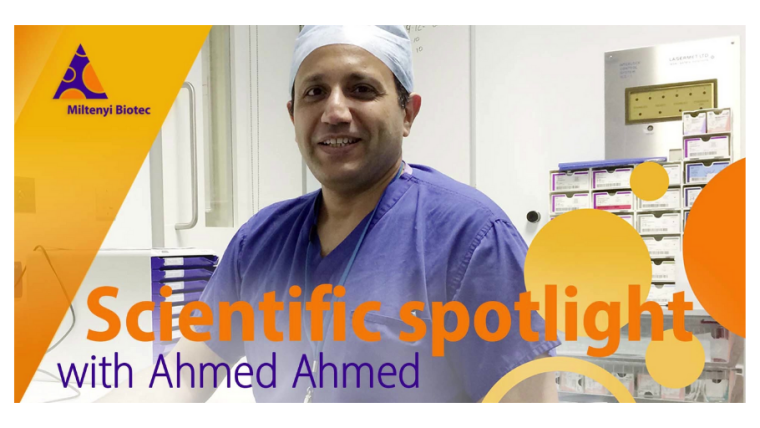 An image of Professor Ahmed Ahmed in hospital scrubs.