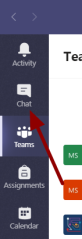 Screenshot showing the location of the chat icon in Teams