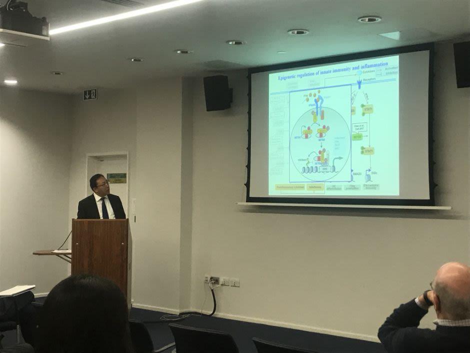 Professor Xuetao Cao giving his talk at the half-day Symposium